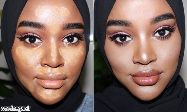 روشن و برجسته نشان دادن پوستهای تیره در 6 مرحله آرایش صورت خانه مد   وردنگار