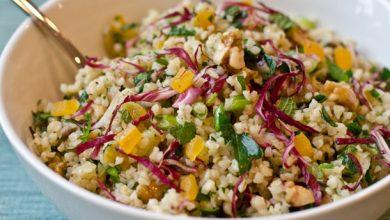 2013-02-13-bulgar-salad-herbs-walnuts-apricots-390x220 طرز تهیه سالاد برنج قهوه ای با لوبیا و سبزیجات + ارزش غذایی و میزان کالری آشپزی غذاهای گیاهی   وردنگار