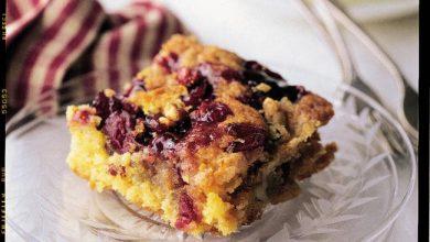 cranberry-coffee-cake-with-walnut-crunch-390x220 آموزش طرز تهیه کیک کران بری قهوه با گردوی کرانچی آشپزی کیک ها   وردنگار