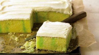 lemon-lime-refrigerator-sheet-cake-390x220 آموزش طرز تهیه کیک یخچالی لیمویی آشپزی کیک ها   وردنگار